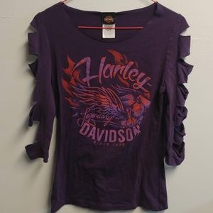 NWOT Harley Davidson 3/4 Sleeve Distressed Shirt